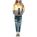 Explosion Cat Print Gray Hooded Pullover Sweatshirt
