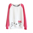 Round Neck Pocket Cartoon Patterned and Polka Dotted Sleeve Sweatshirt