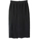 Plain Elastic Waist Split Back Tube Knit Midi Skirt