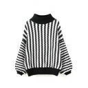 High Neck Vertical Chevron Balloon Long Sleeve Sweater