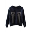 Faux Pockets Embroidery Round Neck Velvet Loose Sweatshirt