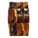 Vintage Oil Painting Print Split Back Midi Pencil Skirt