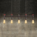 Antique Iron 5 Lights 1 Tier LED Linear Chandelier