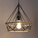 14'' Width Open Diamond Cage LED Hanging Lamp with Burlap Intertwined