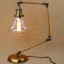 Polished Brass 1 Light Bell Clear Glass Task LED Table Lamp