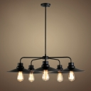 5 Light 1 Tier Black LED Chandelier in Vintage Style
