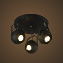 Matte Black Three Lights Round Shade Spotlight LED Close to Ceiling Light