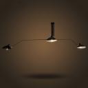 Wrought Iron 3 Light Matte Black Large LED Ceiling Light