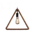 15 Inches Wide Triangle Burlap LED Pendant