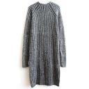 Round Neck Plain Raglan Long Sleeve Vertical Stripes Knit Dress