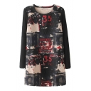 Round Neck Long Sleeve Patchwork Double Pockets Print Dress