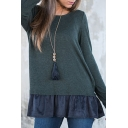 Bow Back Long Sleeve Patchwork Ruffle Hem Round Neck Tee