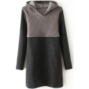 Knit Hooded Patchwork Color Block Tweed Long Sleeve Dress