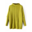 High Neck Batwing Vertical Cable Knit Plain Sweater