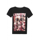 Skull & Floral Print Round Neck Short Sleeve Tee