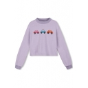 Round Neck Long Sleeve Cropped Car Print Sweatshirt