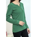 Button Detail Front Long Sleeve V-Neck Plain Tee