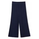 Elastic Waist Wide Leg Plain Loose Mid Waist Pants