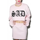 Pink Letter Print Long Sleeve Top with Bodycon Plain Mini Skirt