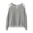 Round Neck Lace Patchwork Long Sleeve Pullover Sweatshirt