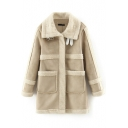 Lapel Lamb Wool Lining Patchwork Double Pockets Suede Coat