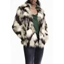 Notched Lapel Tie-Dye Color Block Faux Fur Coat