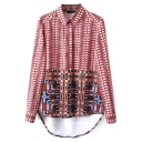 Lapel Geometric Tribal Print Long Sleeve High Low Blouse