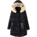 Fur Hooded Zipper Dip Hem Double Pockets Plain Padded Coat