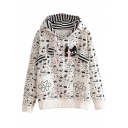 Cute Cat Patchwork Cartoon Print Hooded Long Sleeve Sweatshirt