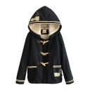 Hooded Cat Embroidery Horn Button Detail Lamb Wool Lining Tweed Coat