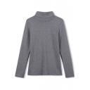 High Neck Plain Long Sleeve Slim Pullover Tee