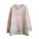 Round Neck Color Block Plaid Mohair Dip Hem Sweater