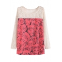 Round Neck Lace Patchwork Red Rose Print Long Sleeve Tee