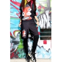 Cartoon Print Black Elastic Waist False Two-Piece Joggers