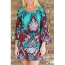 Paisley Print Flare Sleeve Off The Shoulder Mini Dress