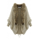 Fur Hem Detail Batwing Sleeve Crisscross Back Long Cardigan