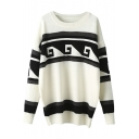 Round Neck Batwing Sleeve Geometric Patterned Color Block Sweater