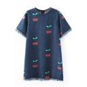 Round Neck Cherry Embroidery Short Sleeve Raw Edge Denim Dress