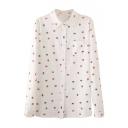 Lapel Button Down Repeated Colorful Umbrella Print Pocket Shirt
