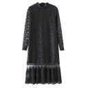 High Neck Long Sleeve Patchwork Lace Maxi Dress