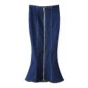 High Waist Zipper Front Plain Fishtail Style Maxi Denim Skirt