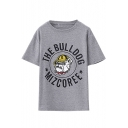 Cartoon Bulldog Print Short Sleeve Loose Pullover Tee
