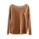 Scoop Neck Single Pocket Plain Loose Dip Hem Sweater