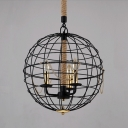 Industrial Globe LED Chandelier Pendant in 16'' Wide with 3 Light