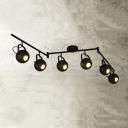 Indoor Matte Black 6 Lights Spotlight Swing Arm LED Close to Ceiling Light