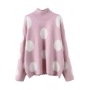 High Neck Polka Dot Color Block Loose Pullover Sweater