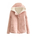 Plain Hooded Zipper Wool Lining Cute Padded Coat