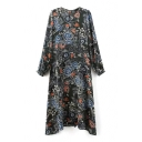 Balloon Sleeve Floral Print Round Neck Asymmetrical Hem Dress