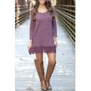 Scoop Neck Lace Patchwork Long Sleeve T-Shirt Dress
