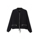 Black Zipper Drawstring Hem Long Sleeve Coat